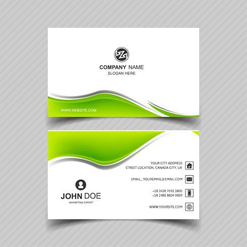 Eleganter grüner gewellter Geschäftskarten-Illustrationsvektor