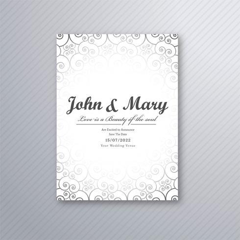 Ilustração de design de modelo de cartão de casamento decorativo bonito