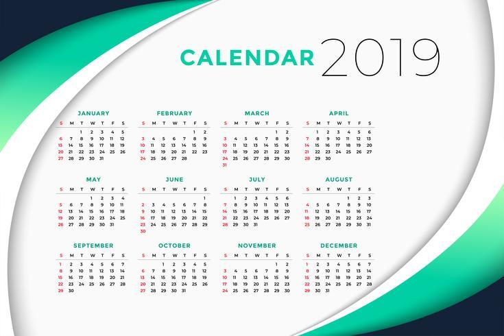Concept de design de calendrier d'affaires 2019