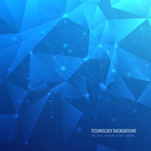 Fundo de tecnologia moderna azul polígono vetor