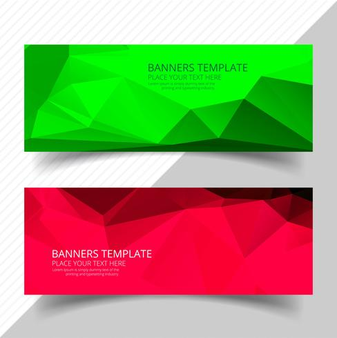 Banners de polígono colorido abstractos set diseño de plantilla