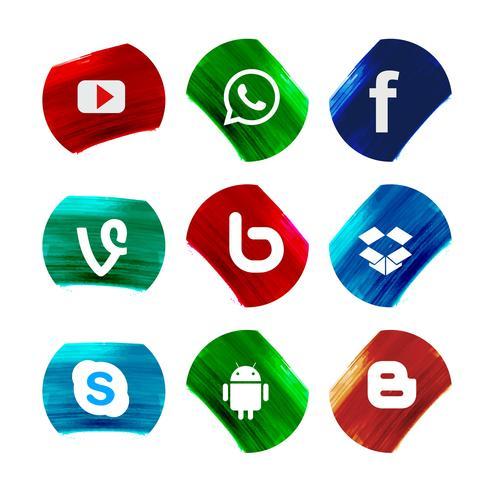 Moderne sociale netwerkpictogrammen geplaatst ontwerp