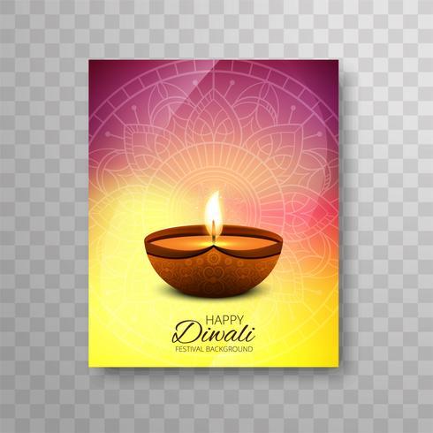 Moderne kleurrijke brochure van het diwali heldere ontwerp