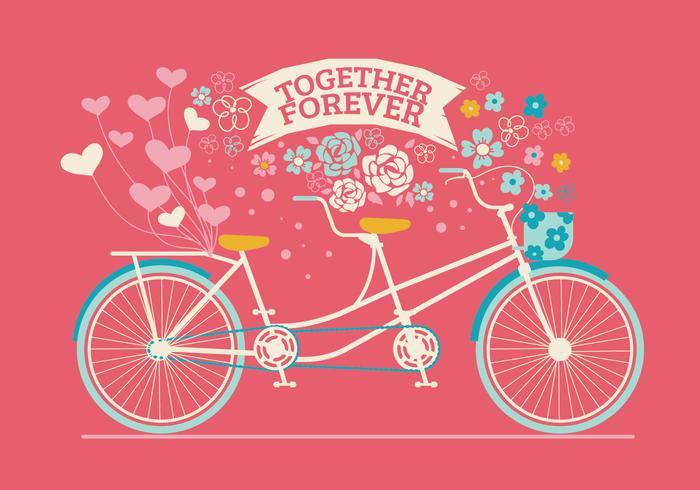 Nettes gezeichnetes Tandem-Fahrrad für Hochzeits-Einladung