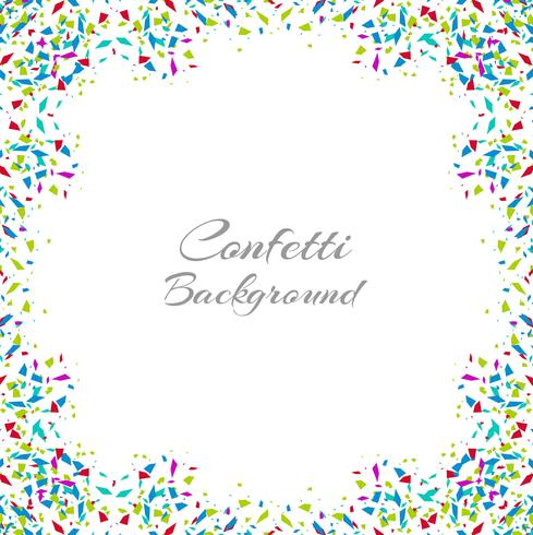 Abstract colorful confetti frame isolated on white background