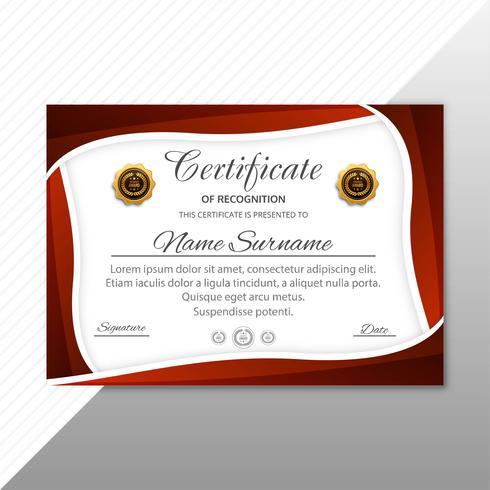 Het mooie malplaatje van het certificaatdiploma met golfillustratie ve vector