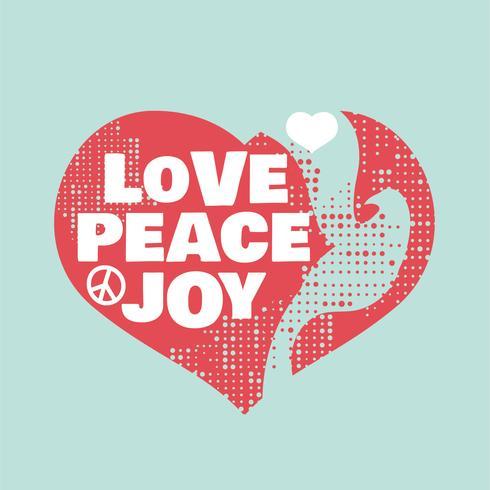 Grunge stijl vrede, liefde en vreugde teken