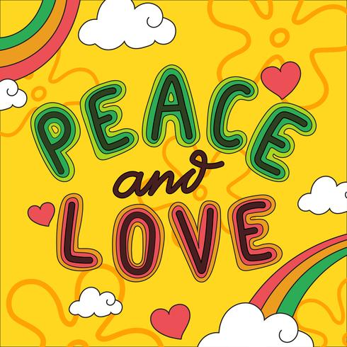 Peace And Love Lettering Vector