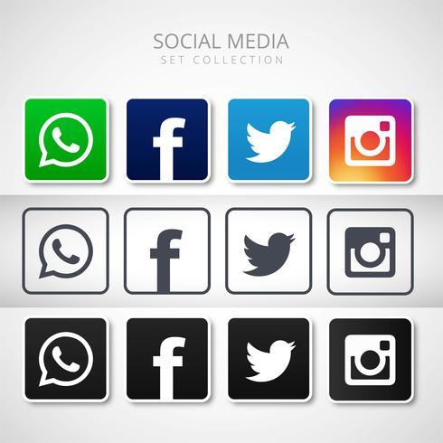 Modern social media icons set design illustration