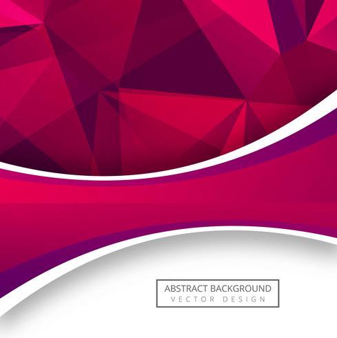 Fondo rosado abstracto del polígono con diseño de la onda