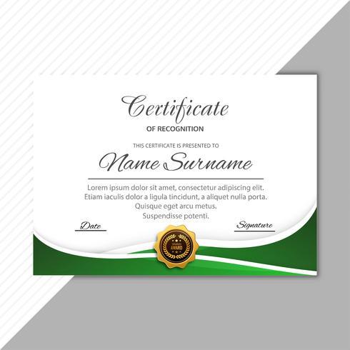 Modelo de certificado elegante diploma com vetor de design de onda