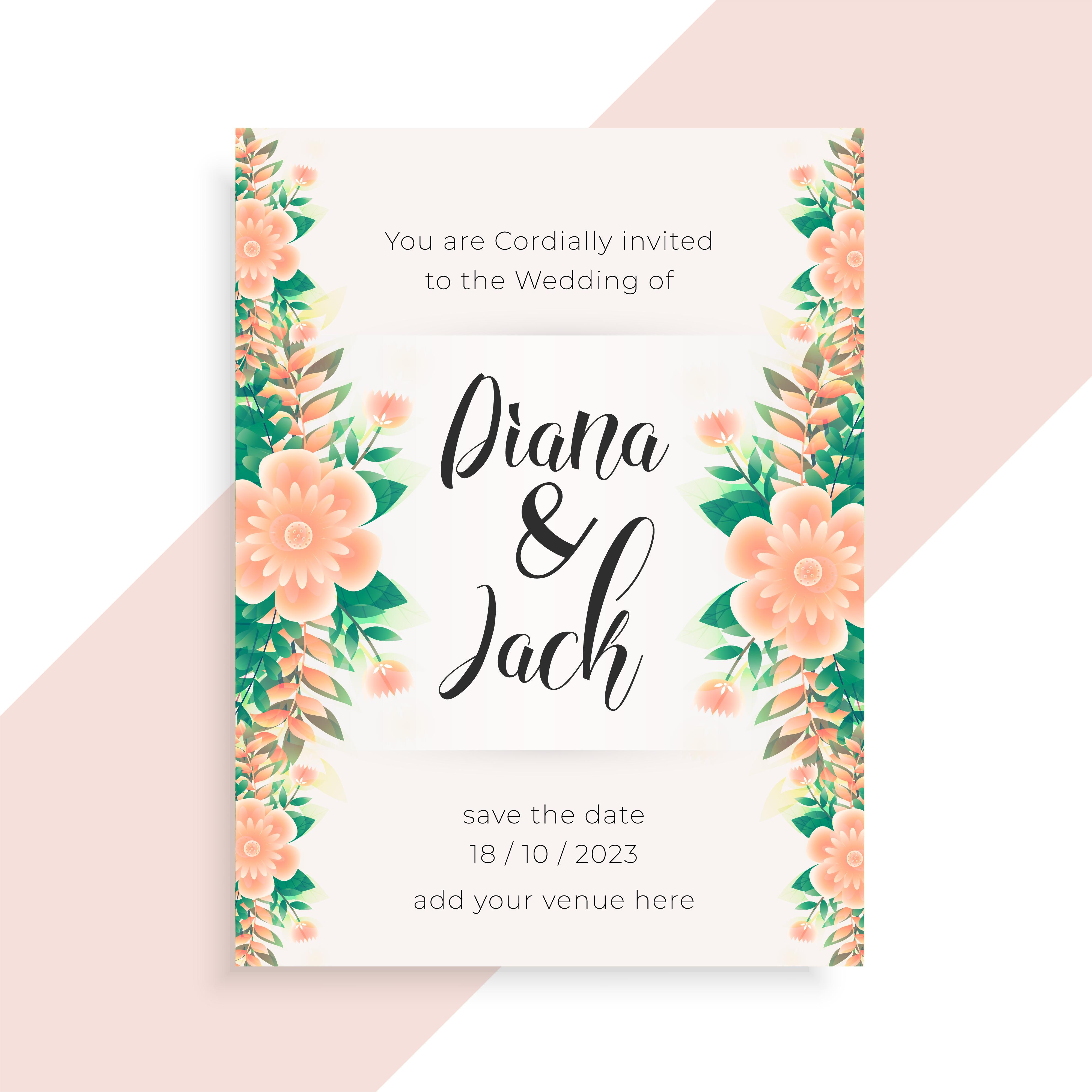 flower concept wedding invitation card design - Download ...