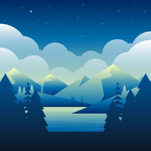 Nuit au-dessus de la montagne à côté de l'illustration vectorielle environnement lac Nature
