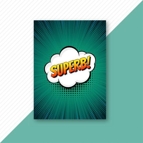 Popkonst grön komisk broschyr mall vektor