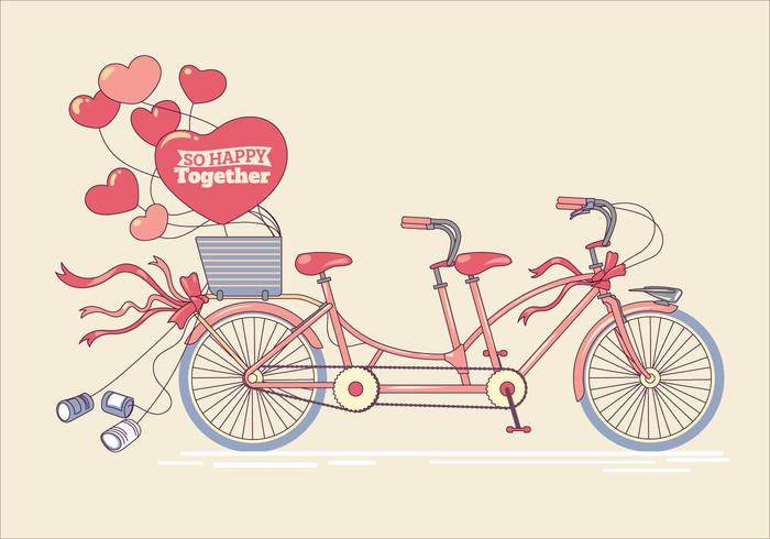 Illustration of Antique Tandem Bike with Hearts Balloons
