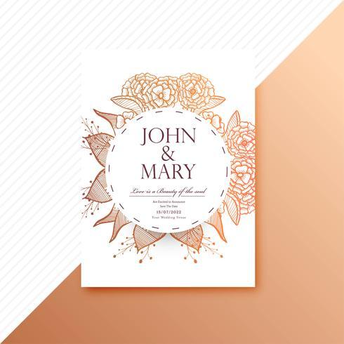 Decorative floral colorful wedding invitation card template illu ...