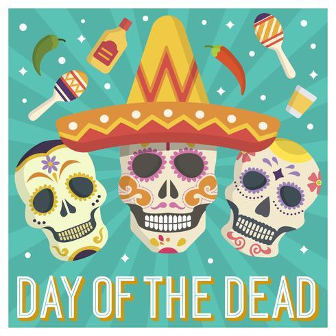 Flacher Tag der toten Zuckerschädel-Calavera-Vektor-Illustration