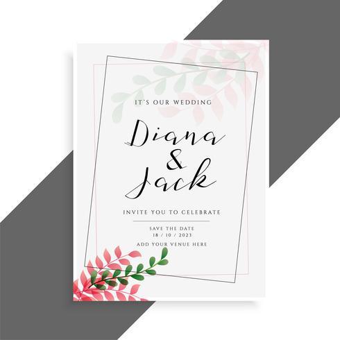 elegant wedding card design with cute leaves