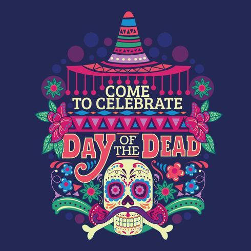 Jour du mort Skull Sugar pour la célébration mexicaine