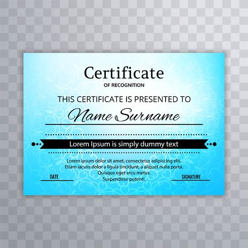 Conception de modèle de certificat coloré bleu
