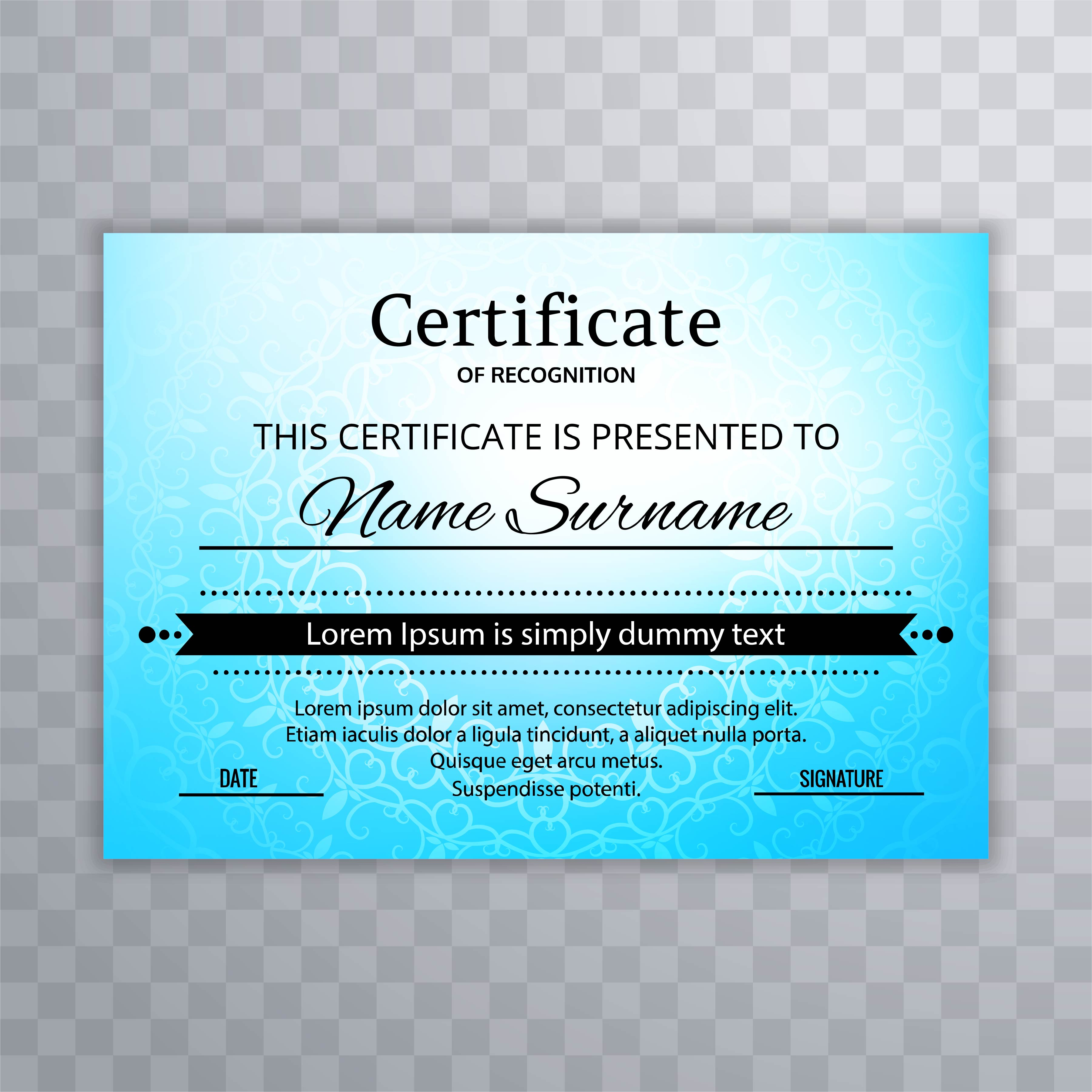 Blue Colorful Certificate Template Design Download Free Vector Art