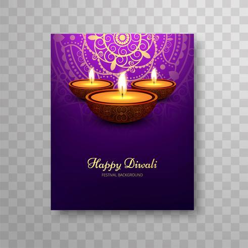 Design moderno bellissimo opuscolo colorato di diwali