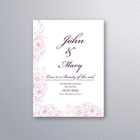 Plantilla de tarjeta de invitación de boda con backgrou floral decorativo