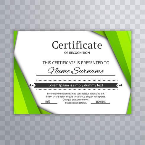 Certificado verde abstrato com vetor de fundo de onda