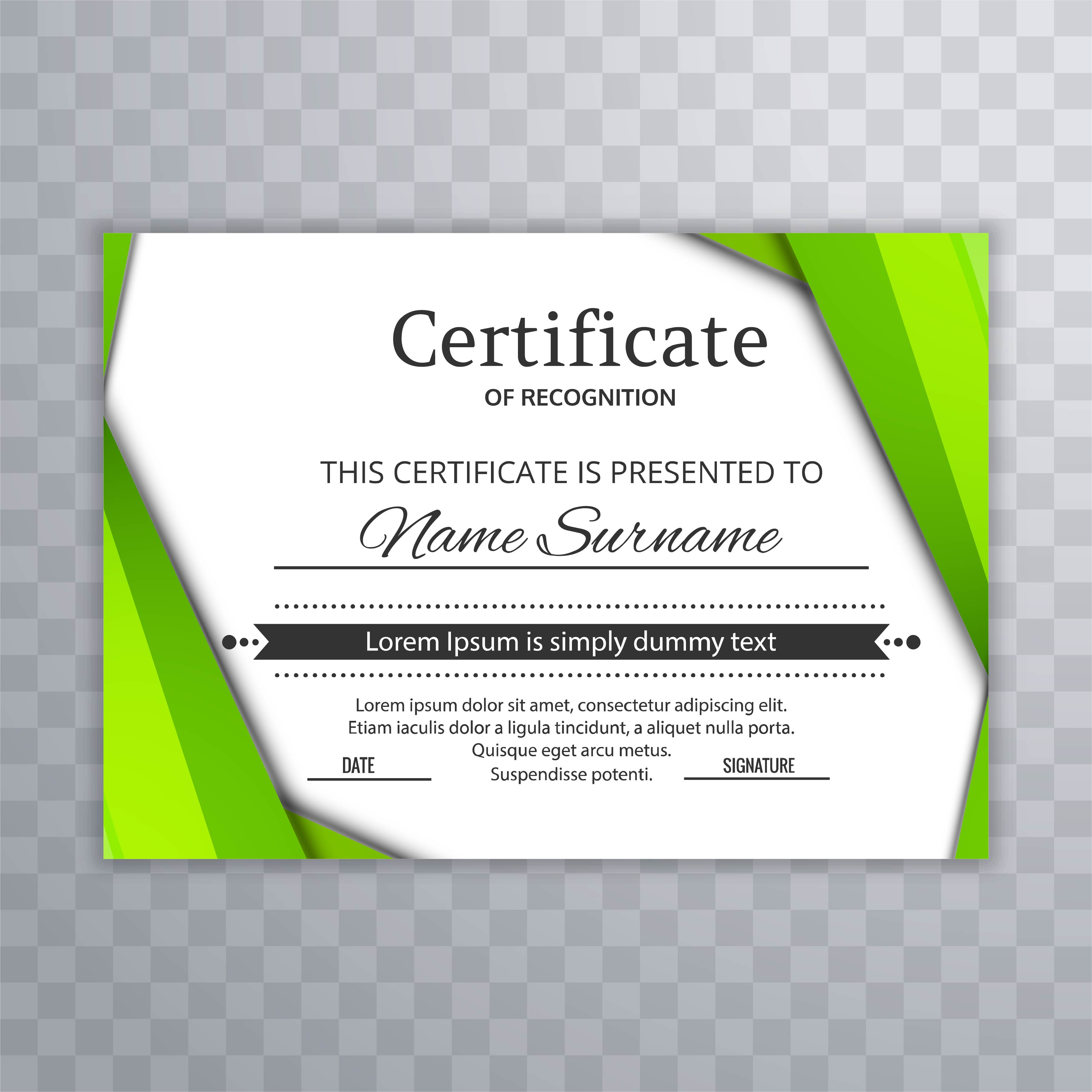 Abstract green certificate with wave background vector ...