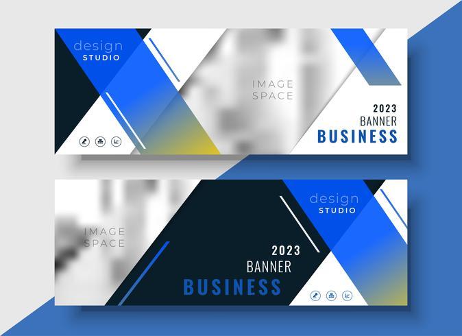 modello di bandiera blu business geometrico