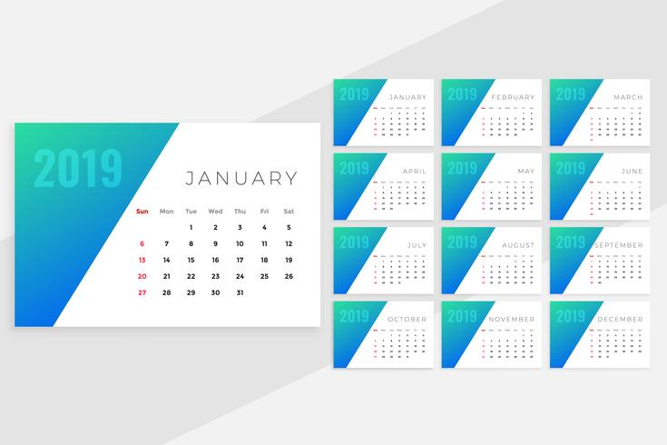 clean minimal blue monthly calenday design for 2019