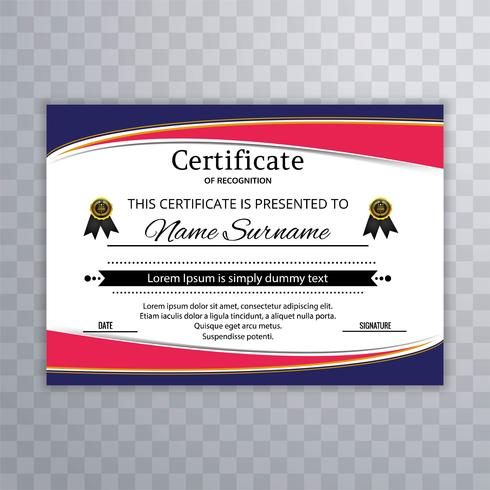 Elegant colorful wavy certificate template illustration vector