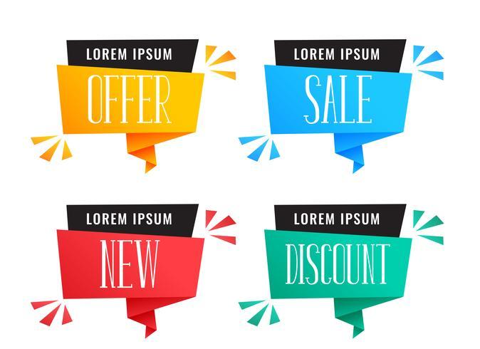 ensemble de bannières colorées discount et vente
