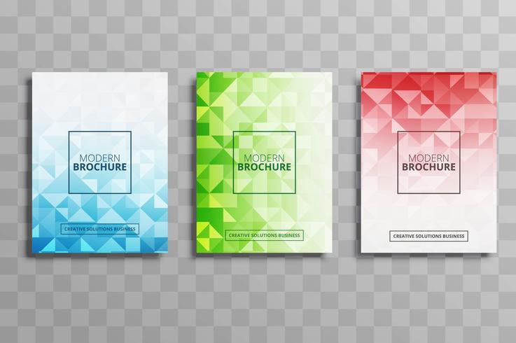 Abstrakt färgstark polygonaffär broschyr malluppsättning vektor