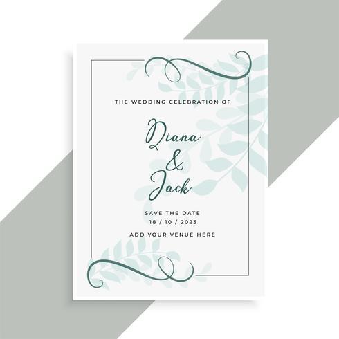 bella carta di nozze con motivo a foglie