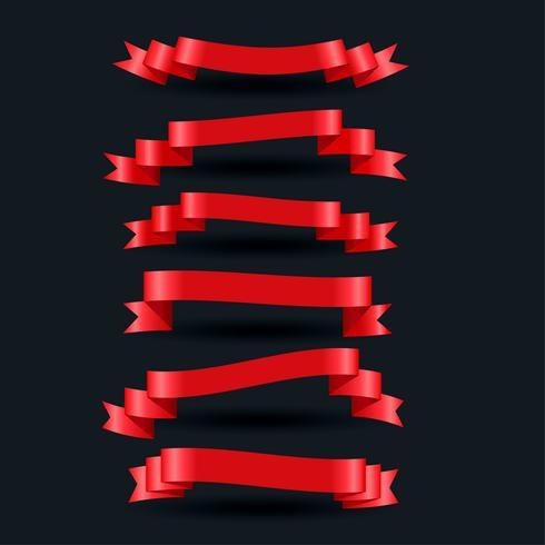3D realista rojo brillante conjunto de cintas