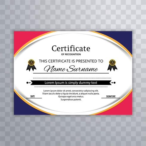Beautiful colorful wave certificate template illustration