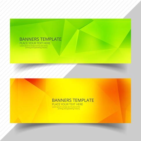 Abstrakt färgstarka polygon banners set mall design