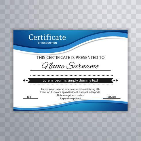 Plantilla de certificado de reconocimiento con diseño de onda azul illus