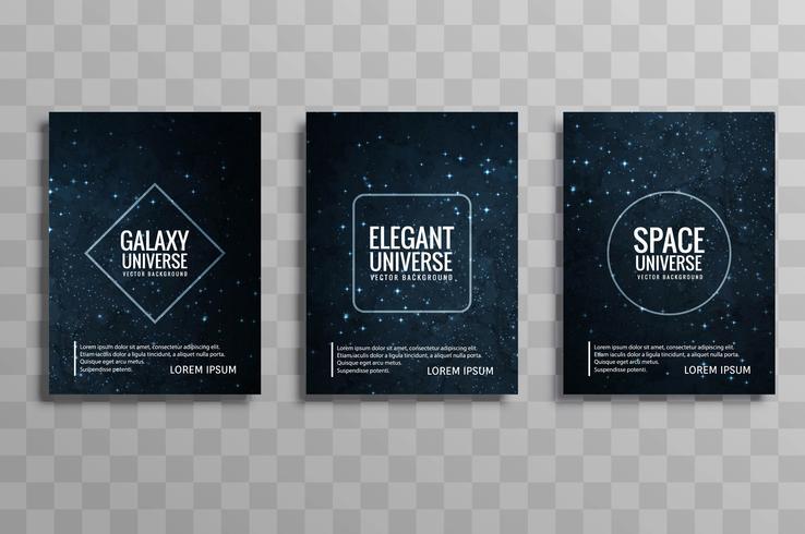 Mooie het ontwerpreeks van de melkweg kleurrijke bedrijfsbrochure