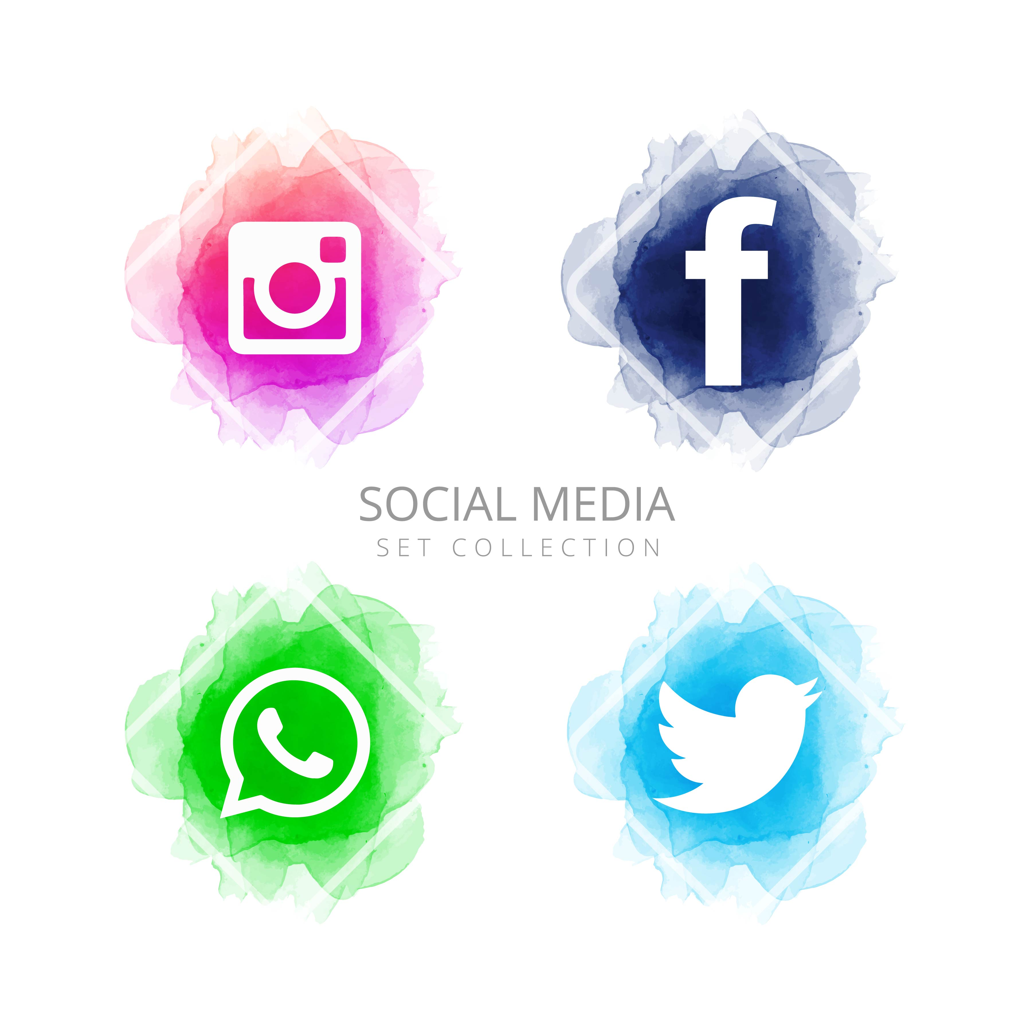 Abstract social media icons set vector - Download Free ...