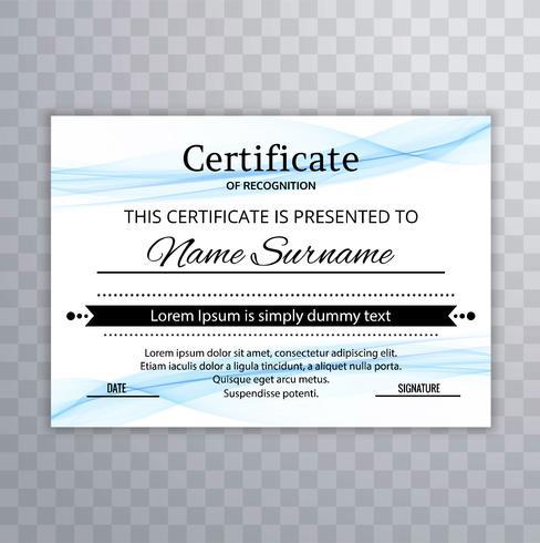 Elegante diseño de plantilla de certificado ondulado azul