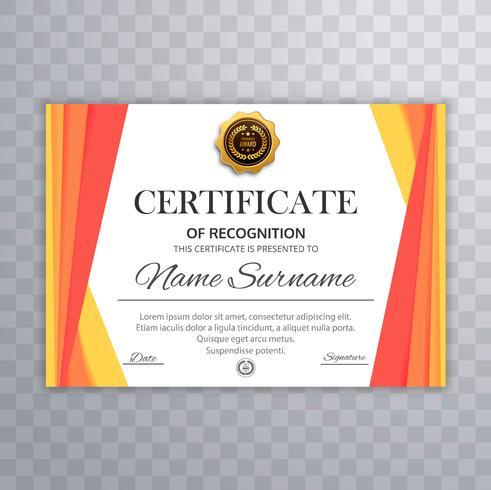 Certifikat för prestationsmall vektor design