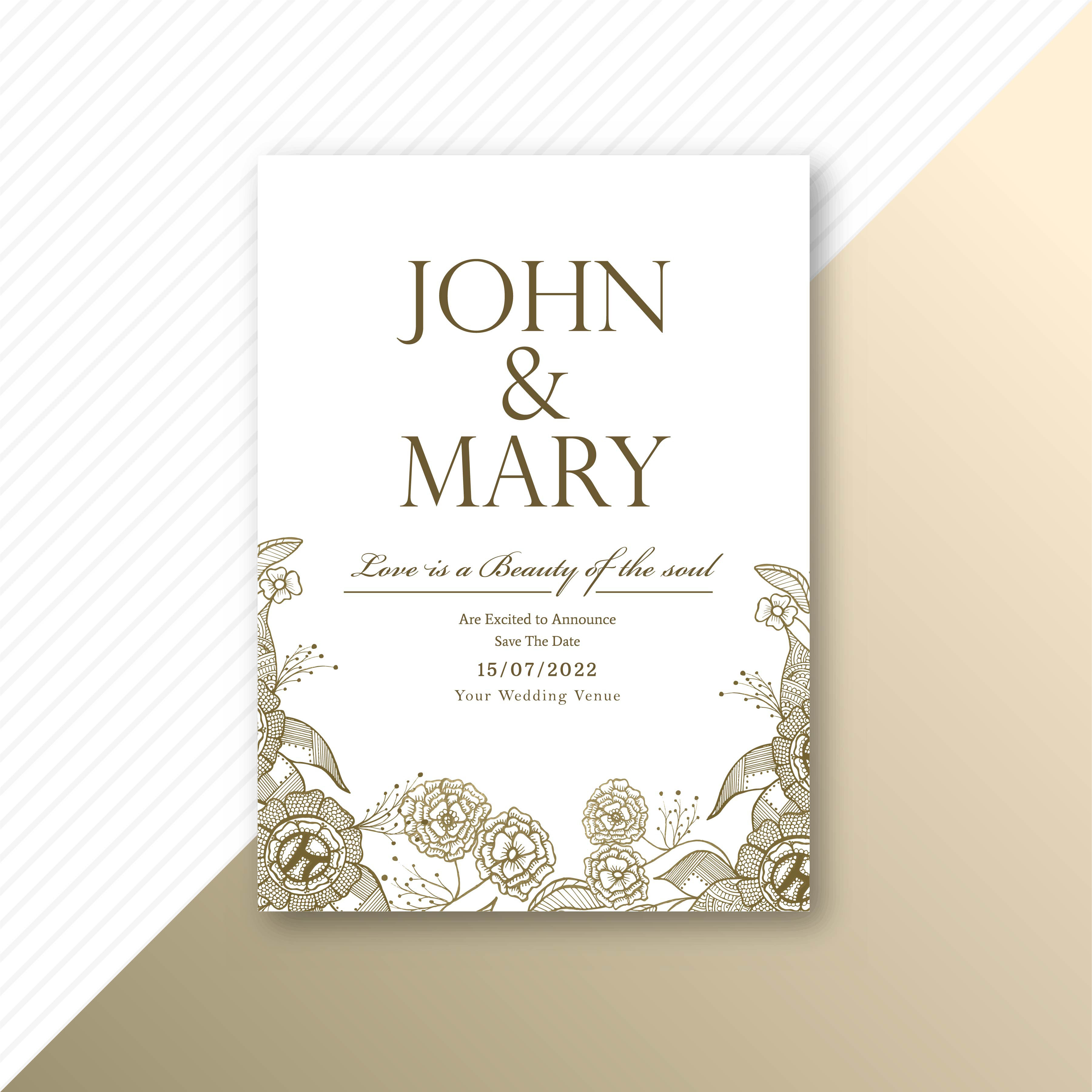 Floral decorative wedding invitation card template design
