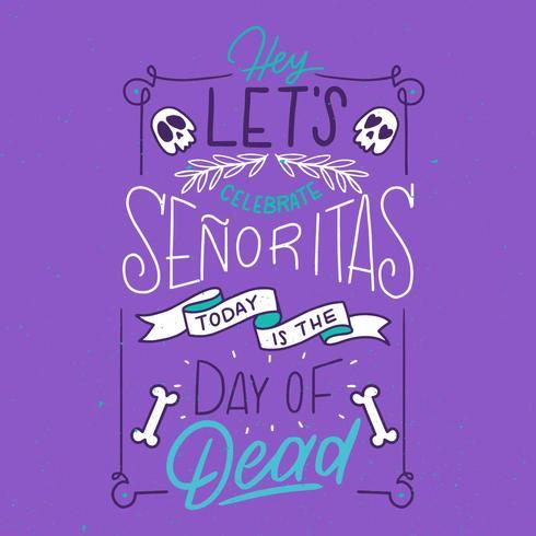 Niedliche lila Hand Schriftzug über Tag der Toten
