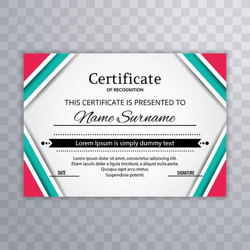 Modern colorful certificate template vector