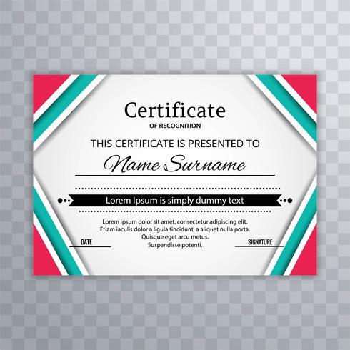 Modern färgstark certifikatmall vektor