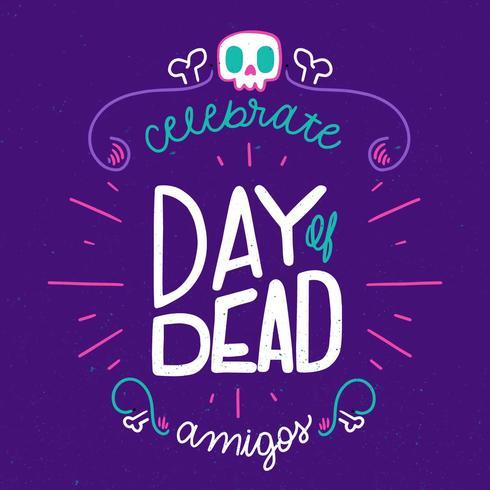 Gullig och färgrik dag med döda bokstäver