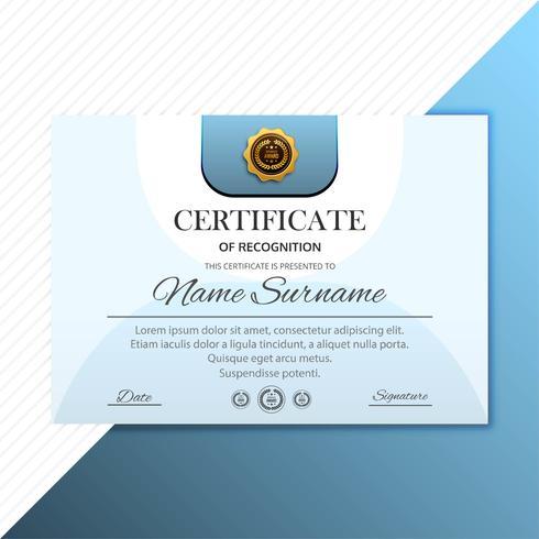 Diploma de certificado de conclusão projeto modelo fundo vec