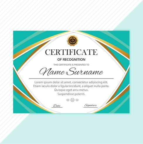 Resumen elegante plantilla de diploma certificado con diseño de onda